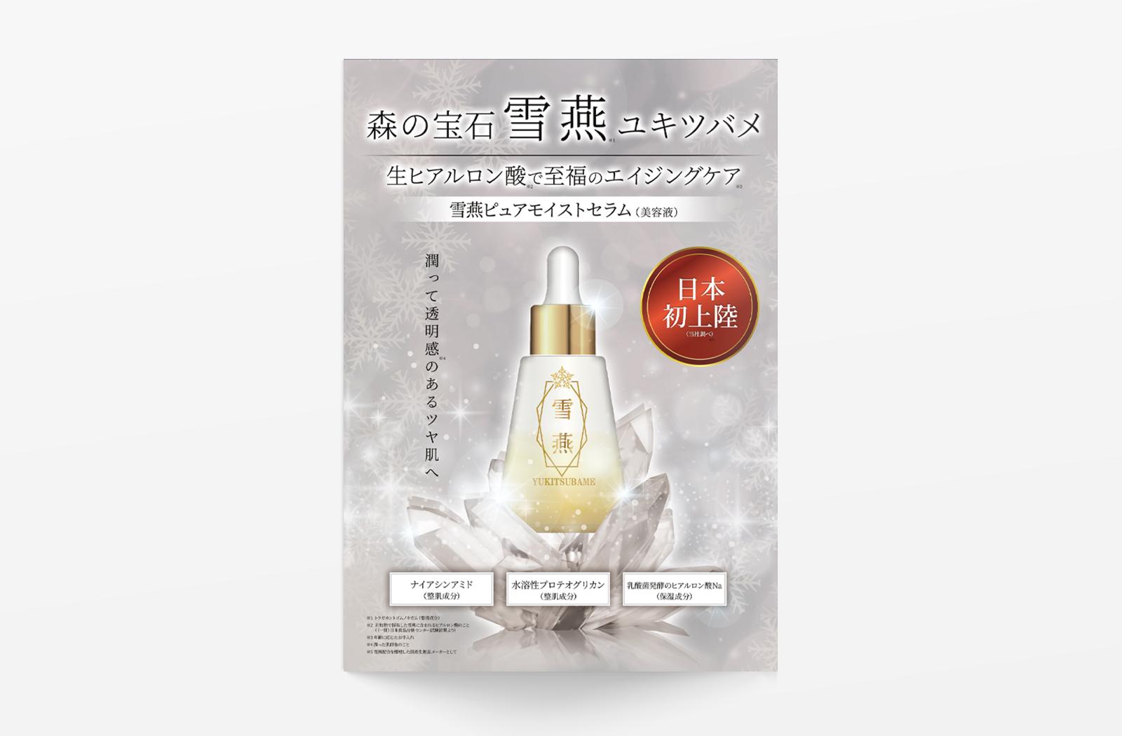 化粧水「雪燕」のパンフレットデザイン