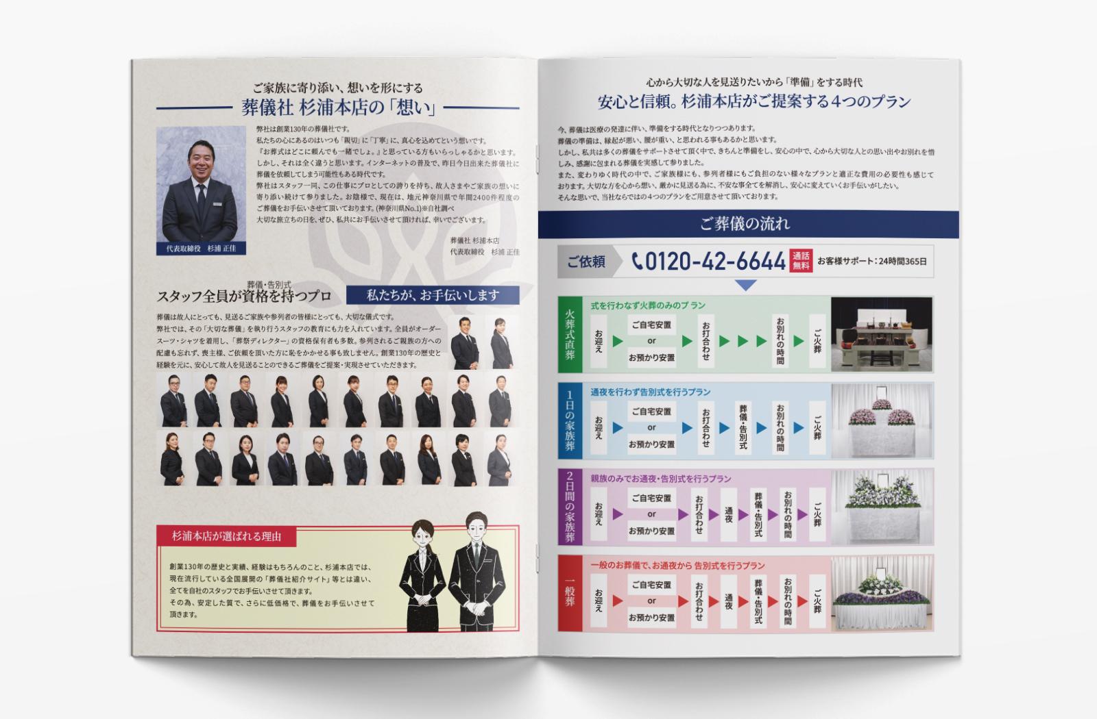 葬儀社 杉浦本店 様のカタログデザイン